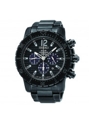 Seiko SSC225 Solar Chronograph Black Dial Men's Black Ion-plated