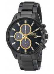Seiko Men's Black Dial Solar Chronograph Watch SSC269
