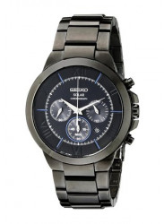 Seiko Men's Solar Chronograph Black Dial Watch SSC287