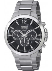Seiko Men's Solar Chronograph Black Dial Watch SSC321
