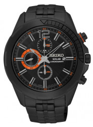 Seiko Men's Recraft Solar Chronograph Black Dial Watch SSC383