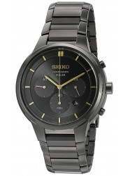 Seiko Men's Solar Chronograph Black Stainless Steel Watch SSC441