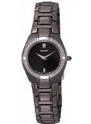 Seiko SUJF11 Women's Dress Diamond Accented Bezel Black Dial Black Ion Plated Watch