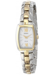 Seiko Women's Solar White Dial Two Tone Watch SUP070
