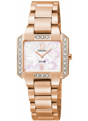 Seiko Women's Solar Mother of Pearl Dial Rose Gold Tone Watch SUP212