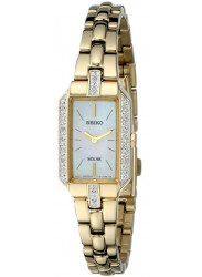 Seiko Women's Solar Solar Mother of Pearl Dial Gold Tone Watch SUP236