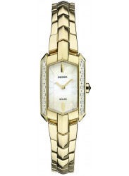Seiko Women's Tressia Solar Mother of Pearl Dial Gold Tone Watch SUP330