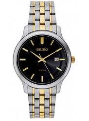 Seiko Men's Dark Grey Dial Two Tone Watch SUR183