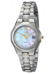 Seiko Women's Solar Mother of Pearl Dial Two Tone Watch SUT058