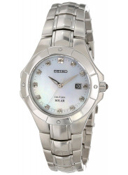 Seiko Women's Coutura Solar Diamond Mother Of Perl Dial Stainless Steel  Watch SUT125