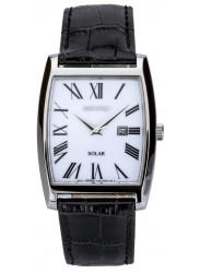 Seiko Men's Solar White Dial Black Leather Watch SUT891