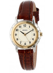 Seiko Women's Champagne Dial Brown Leather Watch SXGA02