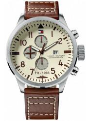 Tommy Hilfiger Men's Beige Dial Brown Leather Watch 1790684