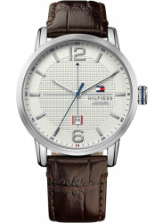 Tommy Hilfiger Men's George White Dial Brown Leather 1791217
