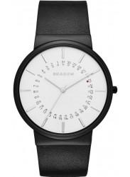 Skagen Men's Ancher White Dial Black Leather Watch SKW6243
