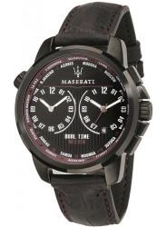 Maserati Men's Successo Black Dial Black Leather Watch R8851121002