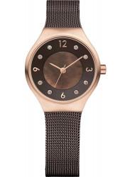 Bering Women's Solar Brown Dial Stainless Steel Mesh Watch 14427‐265