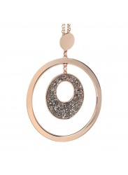 Pink Necklace Pendant with concentric and Swarovski crystal rock