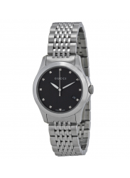 Gucci Women's G-Timeless Black Dial Stainless Steel Watch YA126505