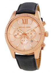 Michael Kors Men's Lexington Rose Gold Tone Black Leather Watch MK8516