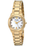 Bulova Women's Mother Of Pearl Dial Gold Tone Stainless Steel Watch 97P109
