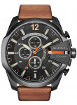 Diesel Men's Mega Chief Chronograph Black Dial Brown Leather Watch DZ4343