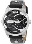 Diesel Men's Mini Daddy Black Leather Black Dial Watch DZ7307