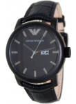 Emporio Armani Men's Black Leather Watch AR0496