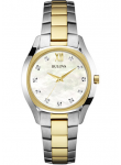 Bulova Women's Mother Of Pearl Dial Two Tone Watch 98P145