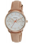 Fossil Women's Tailor Silver Dial Light Brown Leather Watch ES4007