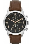Fossil FS4873 Men's Townsman Stainless Steel Watch With Brown Leather Band