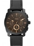 Fossil Men's Machine Chronograph Brown Dial Black Leather Watch FS5586