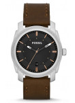 Fossil Men's Machine FS4860 Brown Leather Analog Quartz Watch