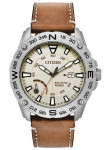 Citizen Men's Eco-Drive Cream Dial Brown Leather Strap Watch AW7040-02A