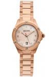 Bulova Women's Salmon Dial Rose Gold Tone Stainless Steel Watch 97W101