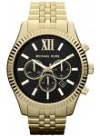 Michael Kors Men's Lexington Chronograph Black Dial Gold Tone Watch MK8286