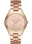 Michael Kors Slim Runway Women's Rose Gold Dial Two-Tone Bracelet Watch MK3493