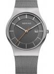 Bering Men's Classic Grey Dial Stainless Steel Mesh Watch 11938-007