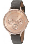 Skagen Women's Rose Gold Dial Crystal-Accented Grey Leather Watch SKW2392