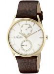 Skagen Men's Holst Brown Leather White Dial Watch SKW6066