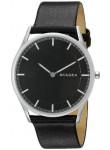 Skagen Men's Holst Black Dial Black Leather Watch SKW6220