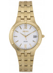 Seiko Men's SNE030 Solar Gold Stainless Steel White Dial Watch